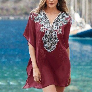 [Bán Chạy] Áo Tắm Nữ Cổ Chữ V Showvie Áo Cánh Rộng Ren Chống Nắng, Váy Đi Biển In Họa Tiết thumbnail