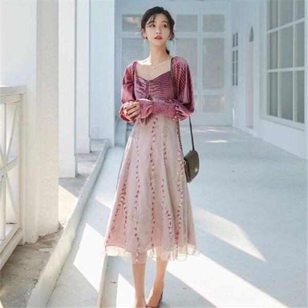 Áo Liền Quần Vải Lưới Con Bướm, Chất Liệu Nhung Thêu Đính Kim Sa, Thời Trang Mùa Xuân Và Thu