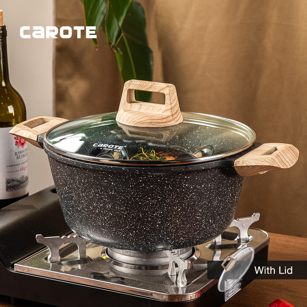 Carote Essential Woody Non-Stick Maifan Stone Coating Die-Cast Casserole, PFOA Free Saucepot With Lid,Free Wooden Ladle Included.