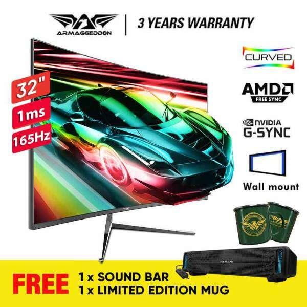 Armaggeddon Pixxel+ Xtreme XC32HD SUPER Gaming Monitor | 32 | 165Hz | 1Ms | 1920 x 1080 | Free SoundBar & Mug Malaysia