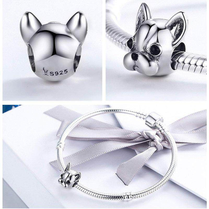 925 Sterling Silver Cute Dog Jewelry Beads Handmade Pendant Bracelet Accessory By Paidbang.