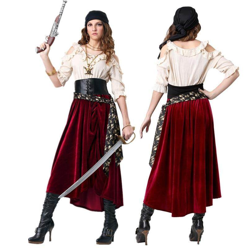Pirate Captain Costumes Adult Women Pirate Costume Cosplay Set For Female Halloween Party Pirates of the Caribbean Dress Up