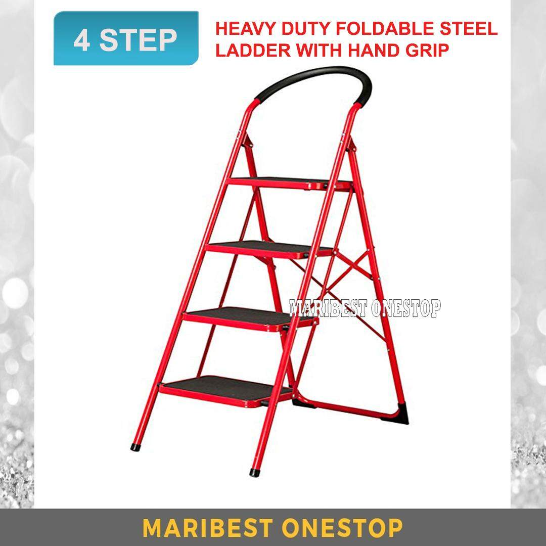 Heavy Duty Foldable 4 Step Stool Ladder with Hand Grip