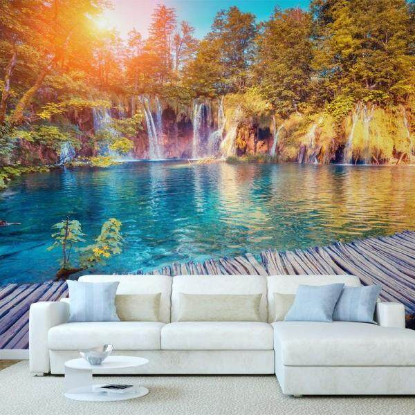 3D Wallpaper Vinyl Wall Sticker Sunshine Waterfall Nature Painting Living Room Sofa TV Background Luxury Decor Wall paper