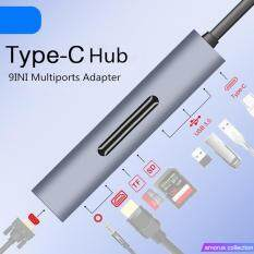 Amorus Bộ Chuyển Đổi 9 Trong 1 3 Dock Type-C Sang HDMI 4K VGA USB3.0 Hub TF SD Khe Cắm USB-C PD Với Âm Thanh Di Động Cho Macbook Pro