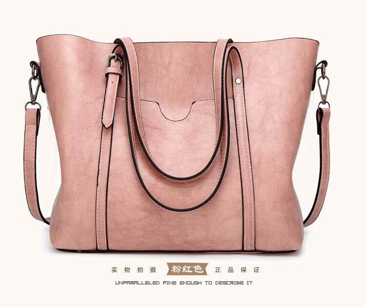 9a12b05f51f2 2018 New Handbag Fashion Simple Handbag Wild Solid Color Shoulder Bag Lady Big  Bag Europe and
