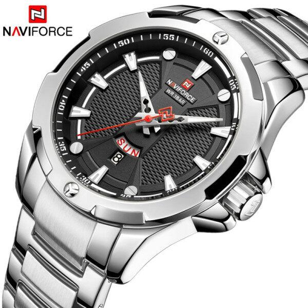 NAVIFORCE Men Top Brand Luxury Military Sport Watch Men Stainless Steel Quartz Watch Week Display Complete Calendar Auto Date Men Watch Malaysia