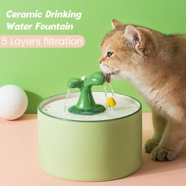 Bát Cho Thú Cưng Máy Phun Nước Tự Động Cho Mèo Bát Uống Nước Cho Chó Mèo Máy Phun Nước Uống Điện Gốm Sứ Cho Mèo 1/1.5L