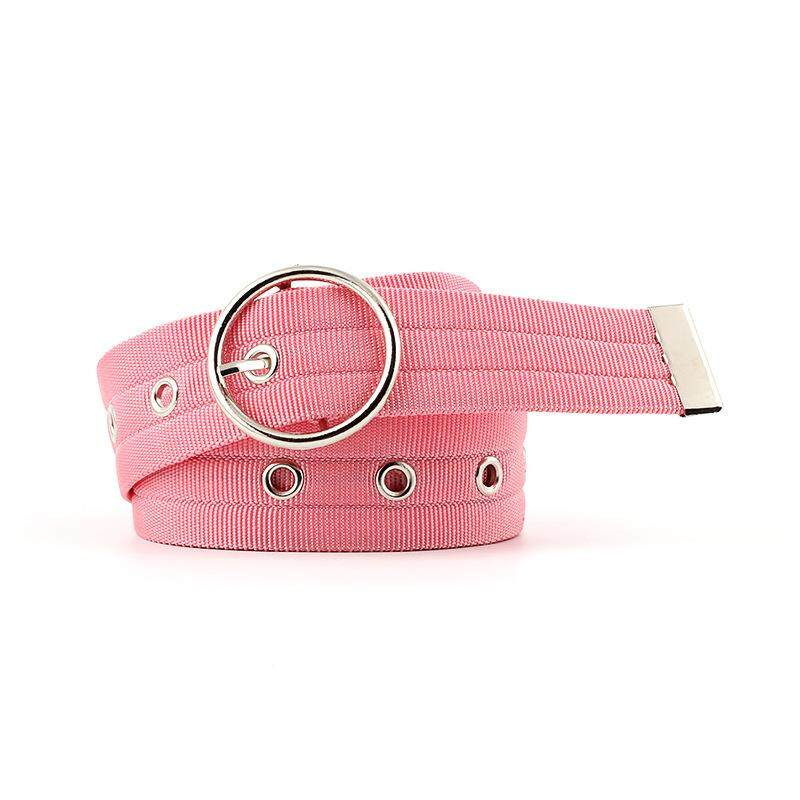 9559a3d53 Deruilady Women's Canvas Belt With Round Pin Buckle For Jeans Trousers Pants  Dress