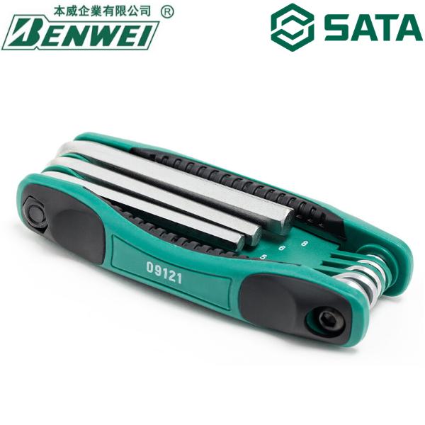 HEX KEY / ALLEN KEY / SATA 09121 8PCS FOLDING HEX KEY SET / SATA LIFETIME WARRANTY / SATA HEX KEY / SATA ALLEN KEY / SATA TOOLS / SATA / SATA HAND TOOLS / SATA TOOL SET / HEXAGON KEY / 世达工具 终身保用