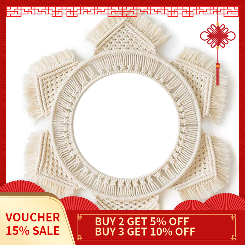 Hanging Wall Mirror with Macrame Fringe Round Mirror Decor for Apartment Living Room Bedroom Baby Nursery