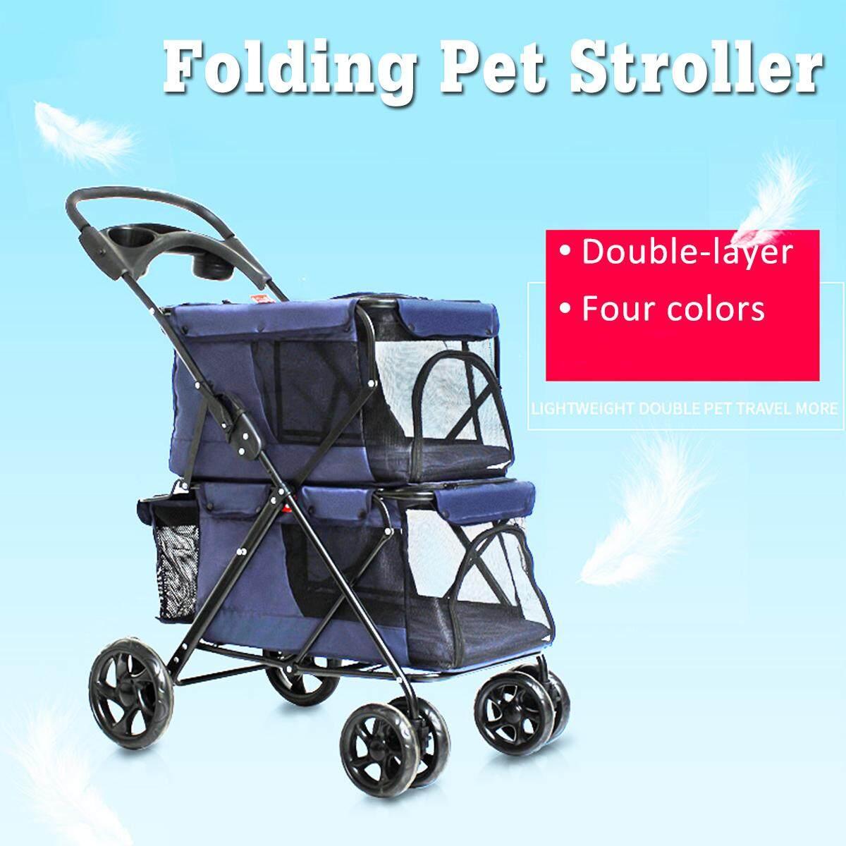 Portable Folding Double-Layer Pet Stroller Pet Cart Travel Foldable Carrier By Audew.