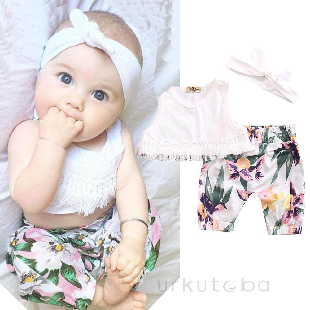 3Pcs Toddler Baby Girl Clothes Tops Floral Vest Lace Shorts Pants Outfits Set