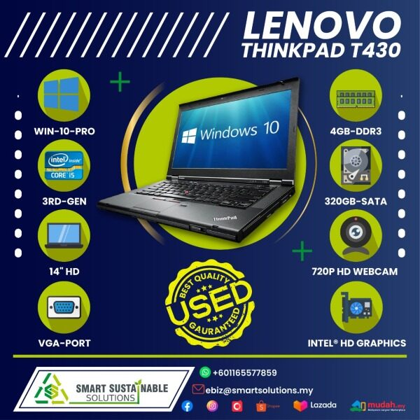 Laptop Lenovo Thinkpad T430 [i5-3rd gen] [4GB RAM] [320 HDD] - used laptop / secondhand laptop Malaysia