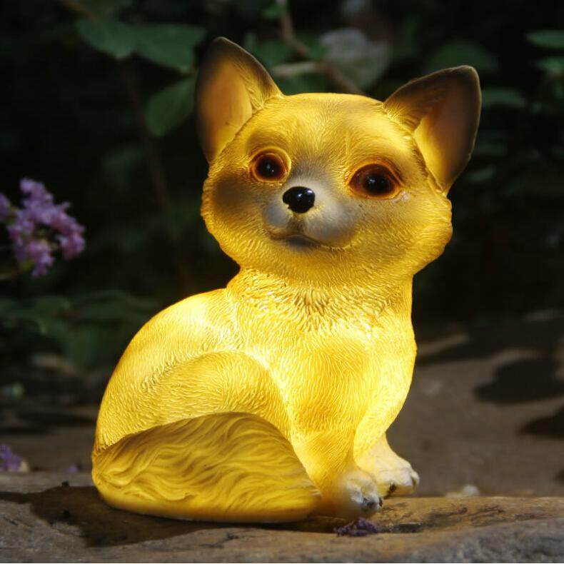 DS LED Solar-Powered Cute Dog Shape Lamp for Outdoor Decoration Warm Lighta