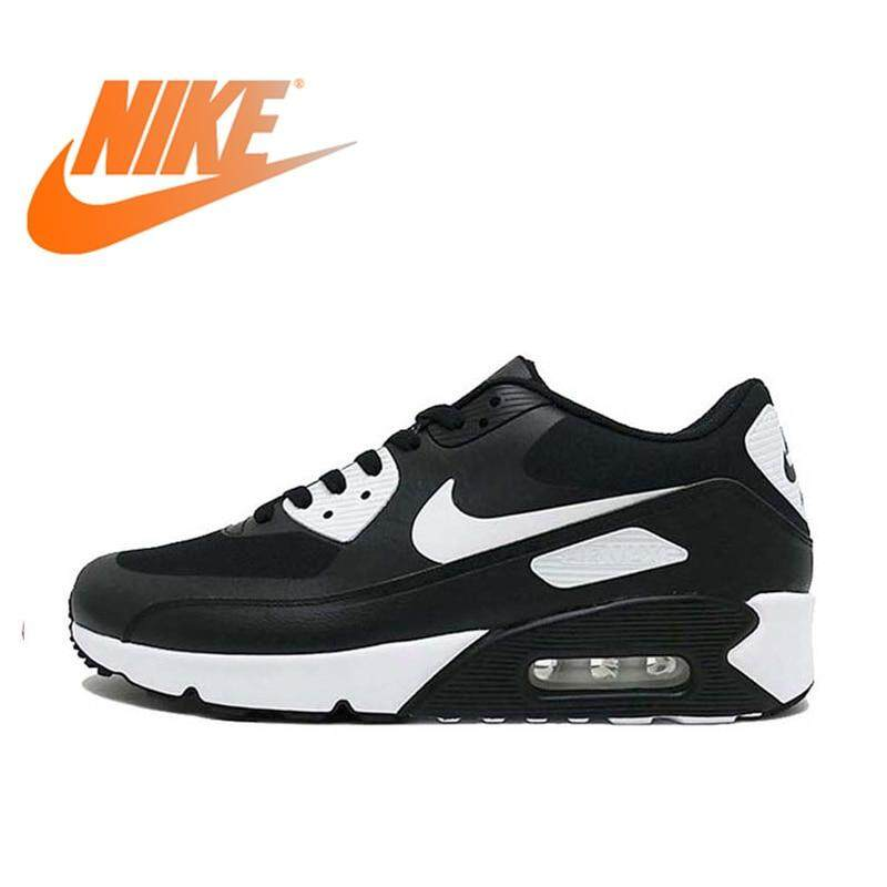 Nike AIR MAX 90 Men's and Women's Running Shoes Breathable Sneakers Comfortable Fast Outdoor Sports Black and White 875695 Good quality