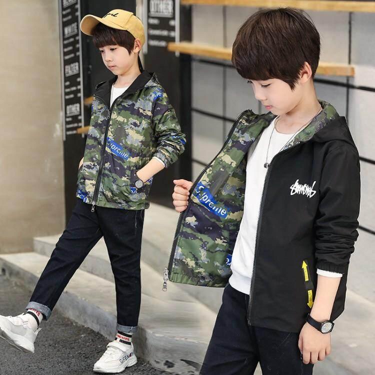 61f923170aa7 Kids Boy Autumn Loaded 2019 New Children s Hooded Jacket Children Boys On  Both Sides Wear Windbreaker