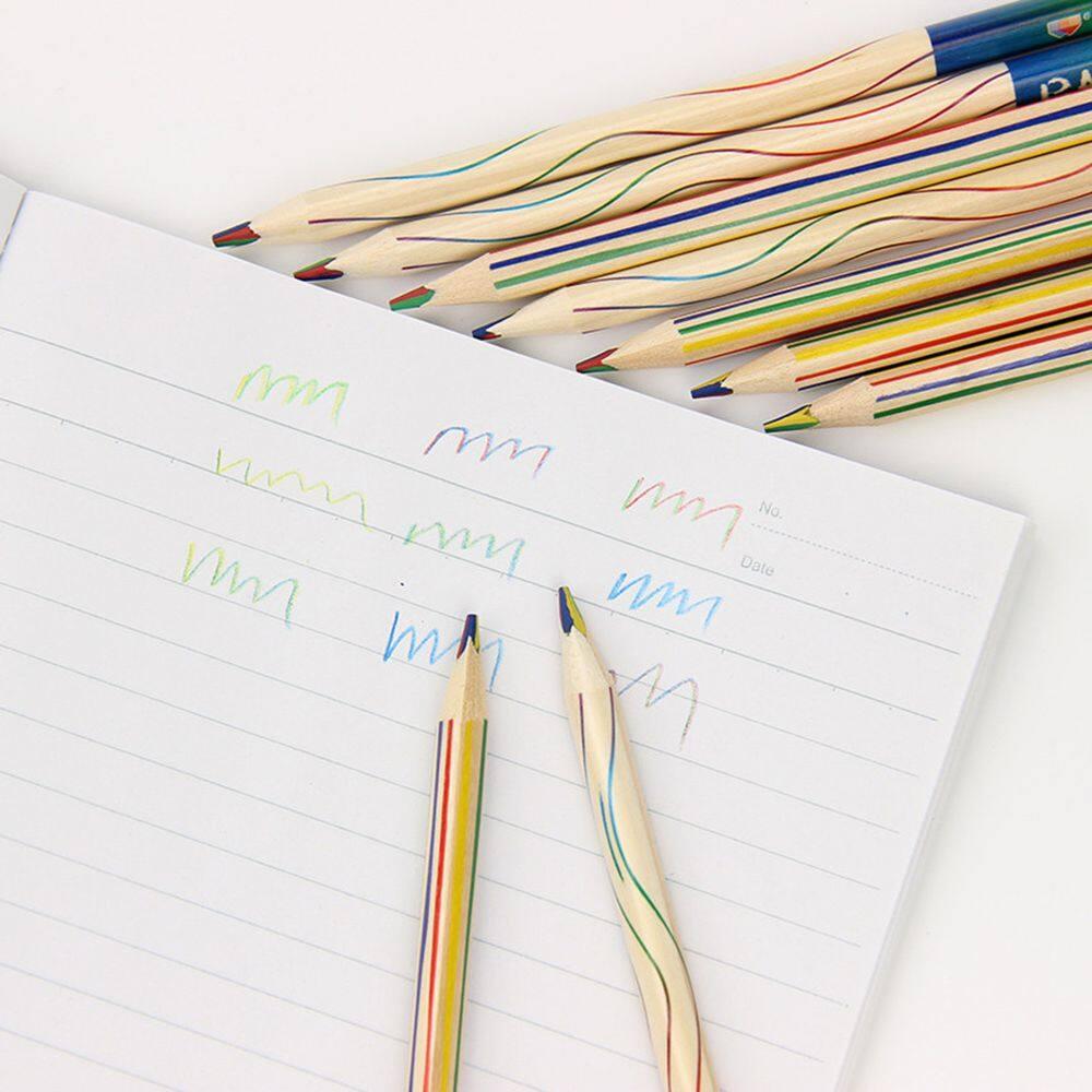 Mua 1*10 Chiếc/Rất Nhiều Cho Văn Phòng Tự Làm Hàn Quốc Bằng Gỗ Cầu Vồng Tam Giác Với Mỹ Core Dễ Thương 4 Trong 1 tranh Văn Phòng Phẩm Bút Vẽ Bút Chì Màu