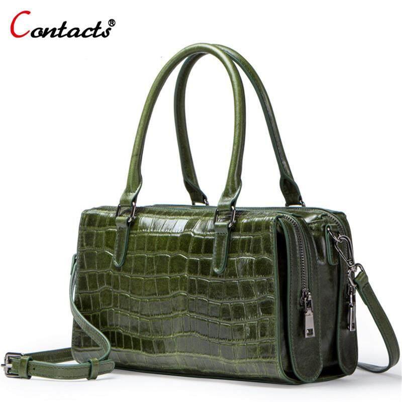 8ee54086ca6 CONTACT'S Retro Style Genuine Leather Crossbody Bag Women Luxury Sling  Shoulder Bag Fashion Handbag for Ladies