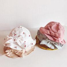 Mũ Em Bé Dễ Thương, Mũ Tai Bèo Cotton In Hình Trái Cây Thắt Nơ Cho Bé Gái Mũ Chống Nắng Panama Vành Rộng Ngoài Trời Mùa Hè Cho Trẻ Em