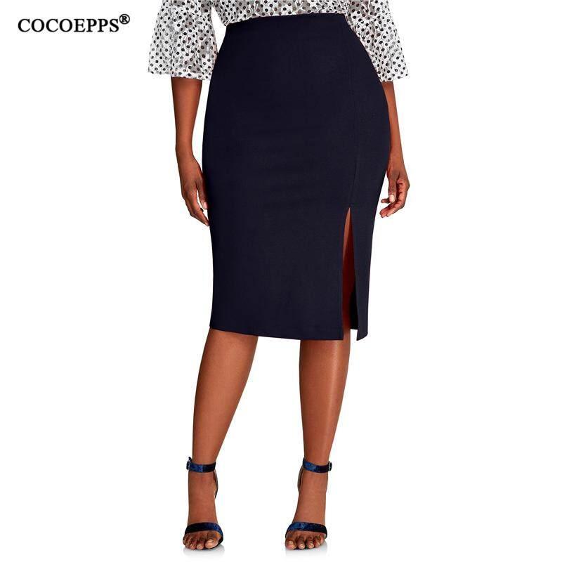 3faf18c0a5405f COCOEPPS 2019 Fashion New Brief High Waist Skirt Plus Size bodycon Pencil  Skirt Women blue Sexy