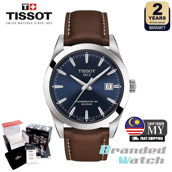 Tissot T127.407.16.041.00 Mens Gentleman Powermatic 80 Silicium 40mm Automatic Leather Strap Dress Fashion Watch T1274071604100 Malaysia