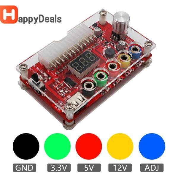 24/20-Pin ATX DC Power Supply Breakout Board Module with Clear Acrylic Case ADJ Adjustable Voltage Knob