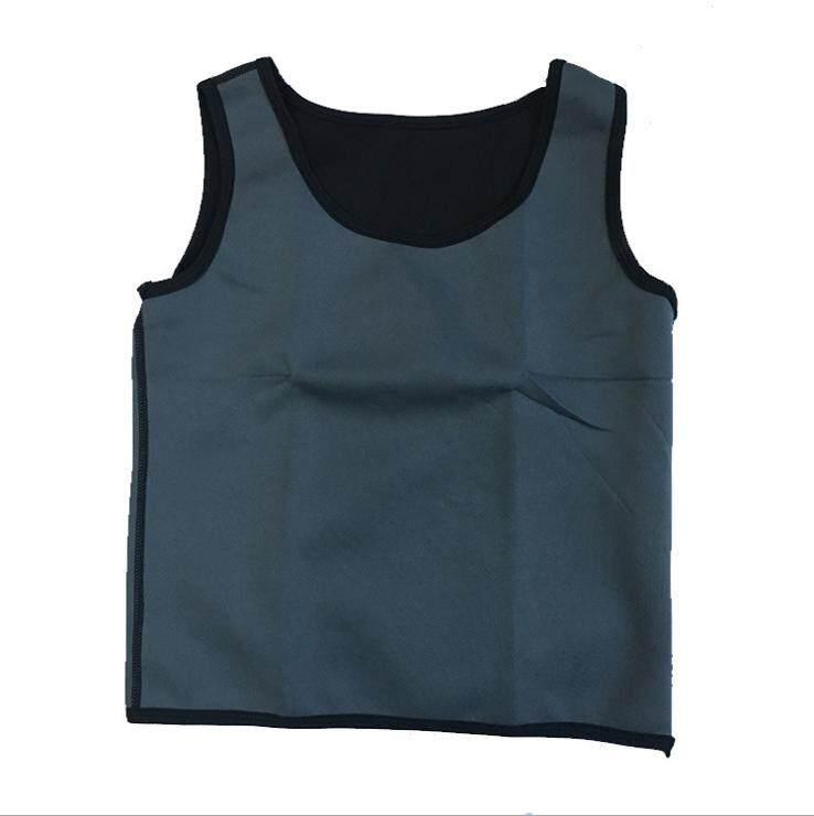 Mens Neoprene Body Shaper Gym Vest Sauna Ultra Thin Sweat Shirt Slimming Black