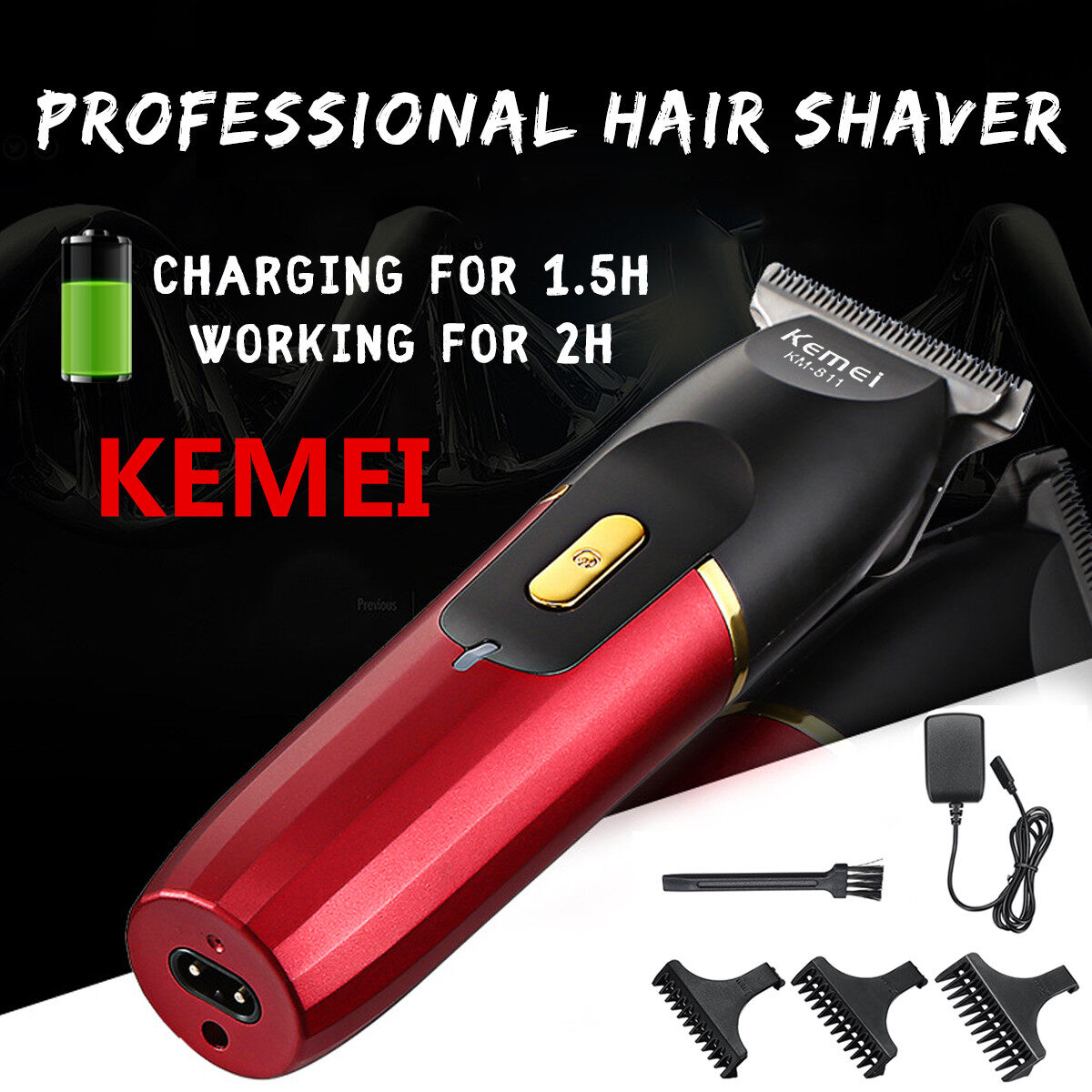 Kemei Electric Hair Trimmer Clipper Rechargeable Body Beard Shaver Remover Razor