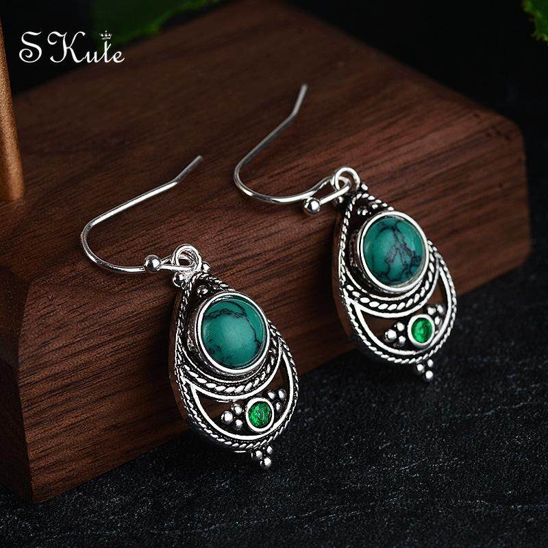 ❤skute Turquoise Stone Earrings Green Crystal Retro S925 Silver Hoop Earring Boho Indian Jewellery,1 Pair By Skute Official Store.