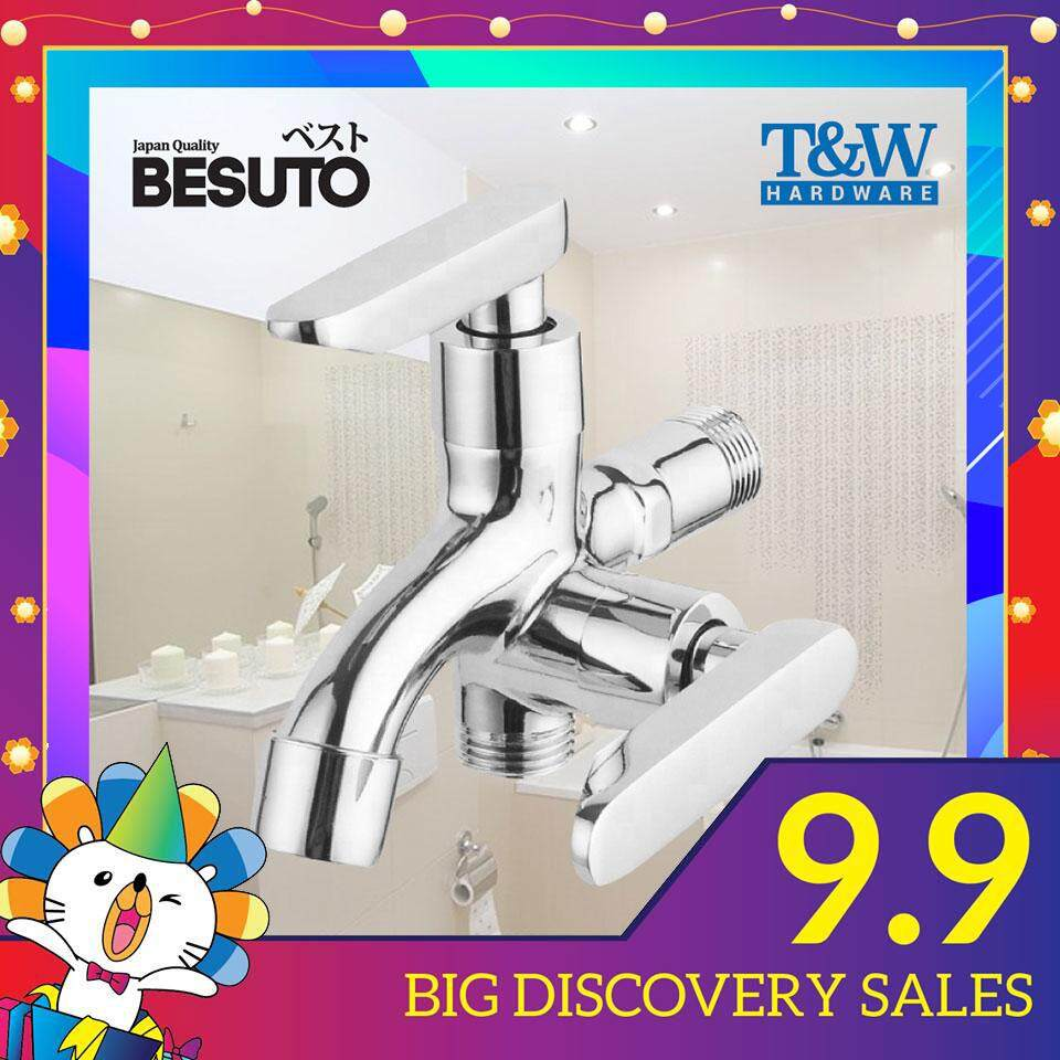 BESUTO Chrome 2 Way Two Way Faucet Water Tap Bubbler Spout Bathroom / Laundry FREE tape [T&W Hardware]