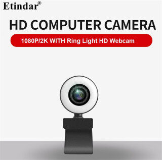 Etindar HD 1080P 2K Webcam with Ring Light Computer PC Web Camera With Microphone For Live Broadcast Video Calling Conference Workcamara Fill Light Web Cam thumbnail