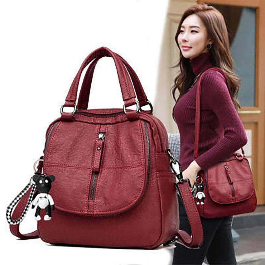 Unique2017 Newest Korean Style Simple Fashion Portable PU Retro Dual-Use Casual Backpack Handbags Outdoor Multi-function Travel Large Capacity Women Ladies Female Student Leisure Shoulder Bag