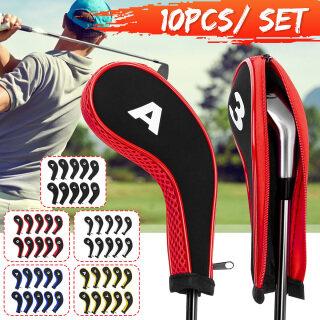 10 Cái bộ Bọc Cổ Sắt Chơi Golf Bọc Bảo Vệ Đầu Gậy Golf Bảo Vệ Gậy Putter thumbnail