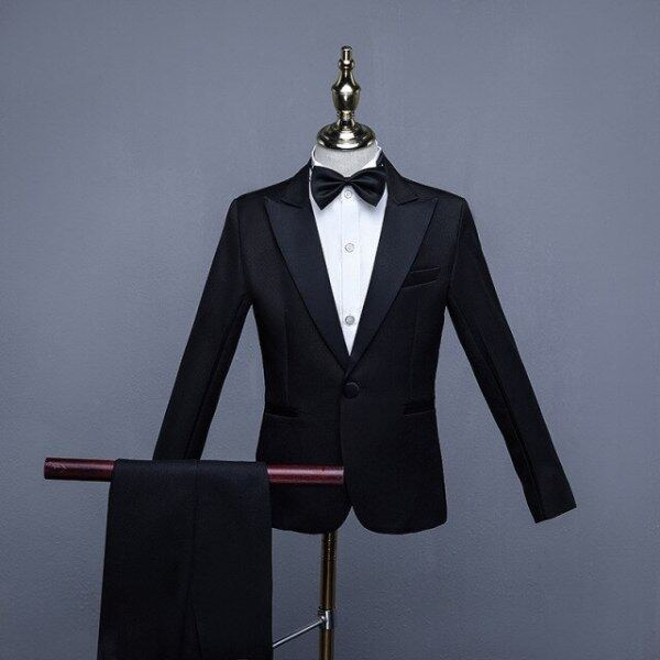 Formal Childrens Dress Suits Set Big Boys Piano Show Host Party Wedding Costume Kids Tuxedo Pants Bowtie Girdle 4pcs Outfits Malaysia
