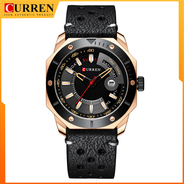CURREN Mens Watch Fashion Chic Stainless Steel or Leather Quartz Waterproof Male Watches with Date and week Gentleman Choice 8344 Malaysia
