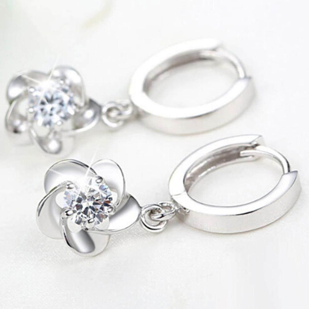 Bluelans®Fashion Wanita Bentuk Bunga Prem Berlian Imitasi Menjuntai Leaverback Anting-Anting Perhiasan
