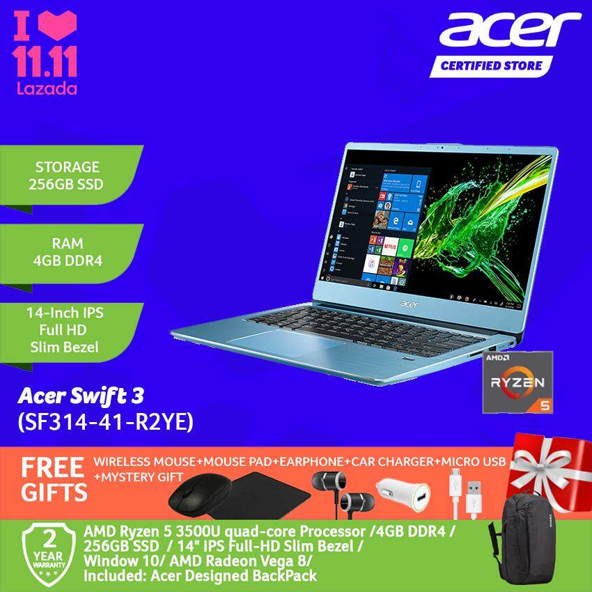 Acer Swift 3 SF314-41-R0CS/ SF314-41-R2YE Sparkly Silver/ Glacier Blue /AMD Ryzen 5 /4GB/256GB/AMD Vega 8 /WIN 10/14-Inch FHD+Free WIRELESS MOUSE+MOUSE PAD+EARPHONE+CAR CHARGER+MICRO USB+MYSTERY GIFT Malaysia