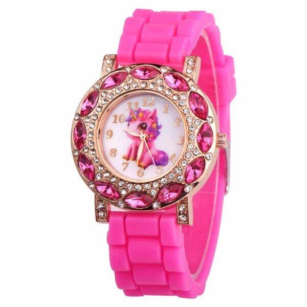 GTU Children Girl Wrist Quartz Watch Round Durable Unicorn Pattern Cute Casual Gift Malaysia