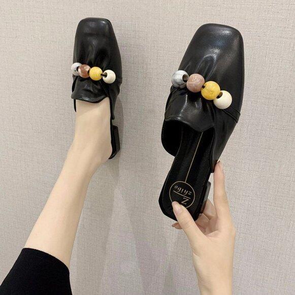 Mùa hè 2020 phong cách mới thời trang Hàn Quốc baotou nửa Dép nữ đính cườm Hoang Dã đầu vuông hồng ngoại mang Giày thấp gót giá rẻ