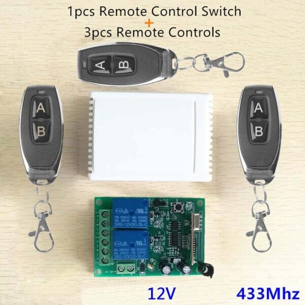 Door Receiver Learning code Remote Control Garage Relay Wireless Switch 2 Keys Controllers