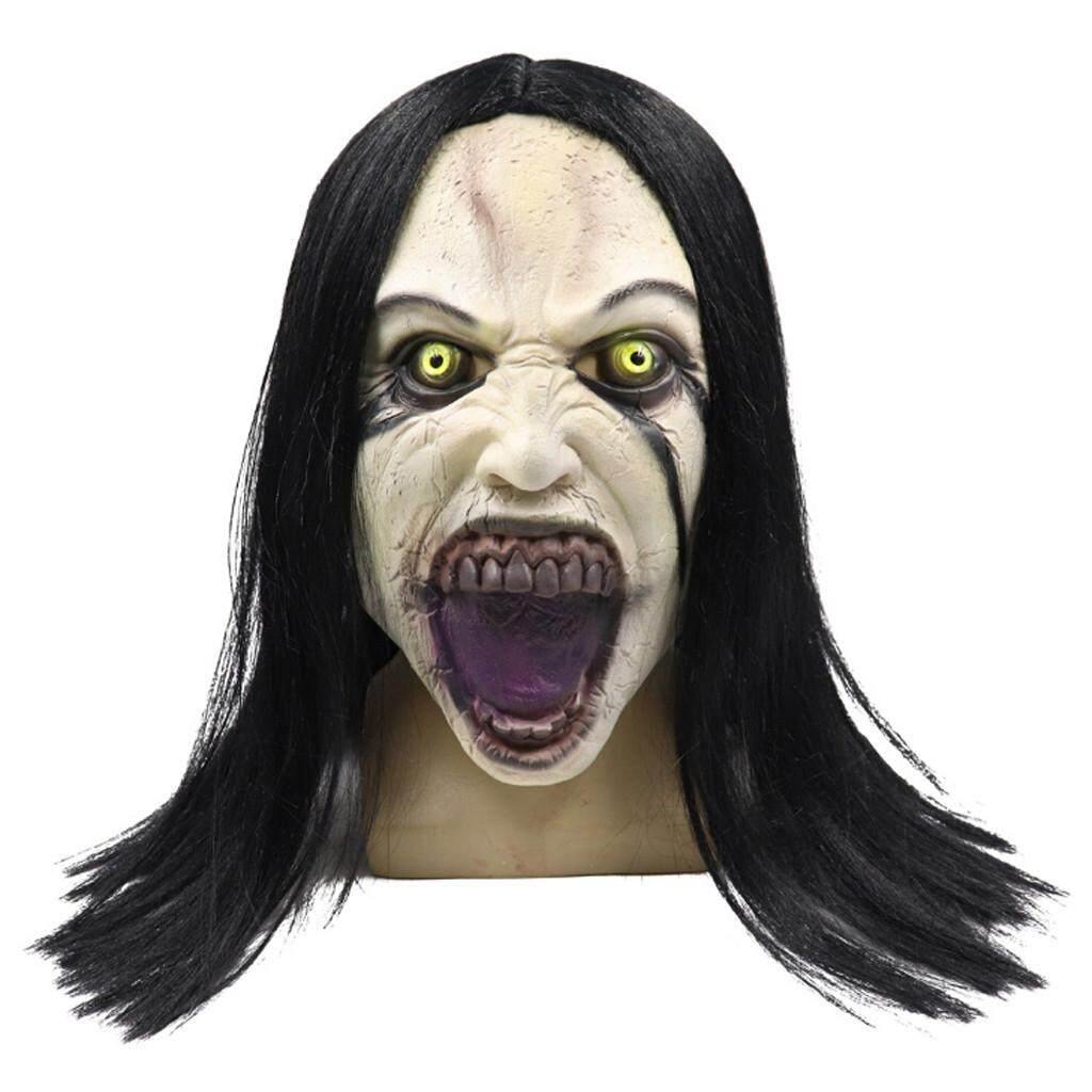 CocolMax Wig Female Ghost Style Mask Melting Face Adult Latex Costume Halloween Scary