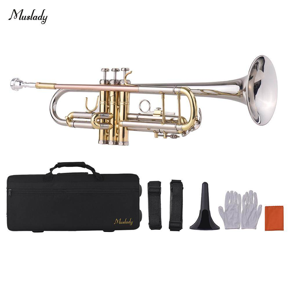 Muslady Bb Trumpet Multicolored Design with Mouthpiece Trumpet Stand Carry Bag Gloves Cleaning Cloth Brass Instrument