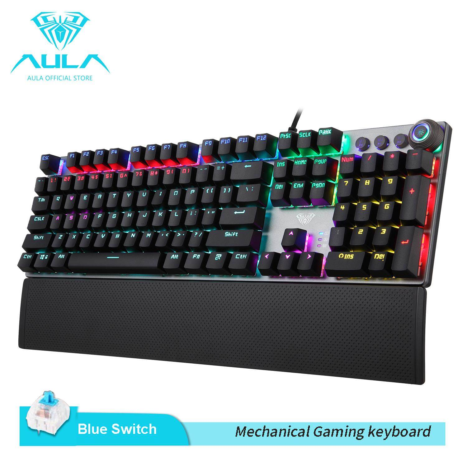 AULA Mechanical Gaming Keyboard Multimedia Control Button  PC Gaming Keyboard with Wrist Rest- F2088