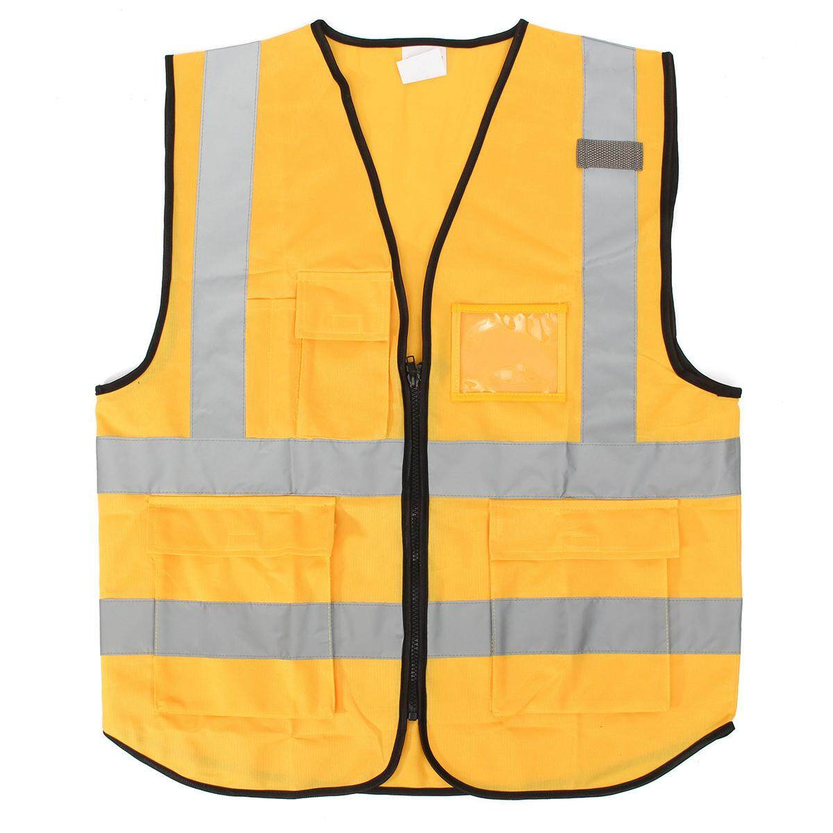 Yellow L Hi Vis Vest Workwear Clothing Safety Reflective Vest Safety Vest Reflective Logo Printing By Freebang.