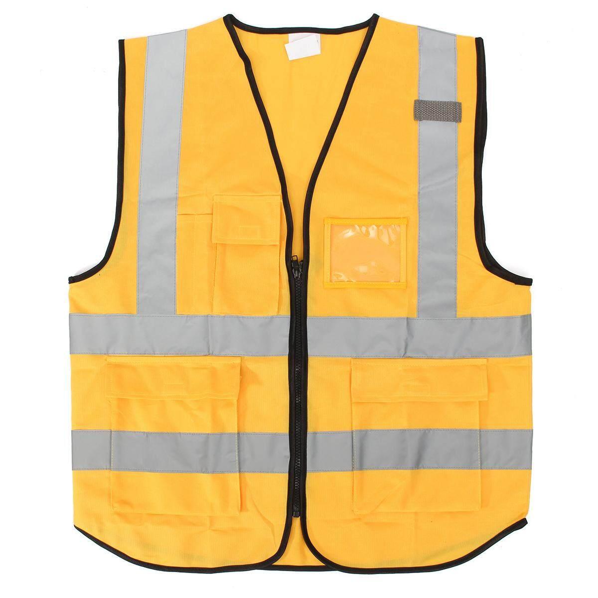 Yellow L Hi Vis Vest Workwear Clothing Safety Reflective Vest Safety Vest Reflective Logo Printing By Freebang.