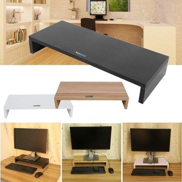 [Hot Sale][In Stock]Dewin 1 Pcs Computer Monitor LED Stand Riser Shelf Desktop (Black)