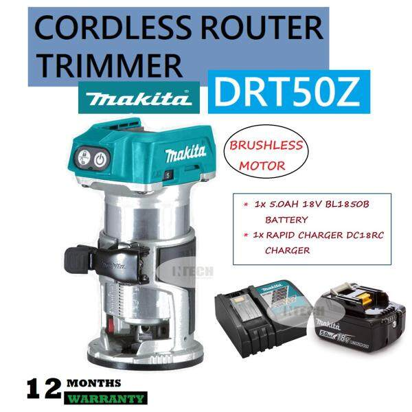 MAKITA DRT50Z CORDLESS ROUTER TRIMMER C/W 1x 5.0AH BATTERY BL1850B & 1x RAPID CHARGER DC18RC