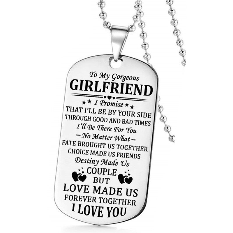 To My Gorgeous Husband Wife Boyfriend Girlfriend I Love You Military Necklace Key Chain Couples Anniversary Gifts Birthday Personalized Quotes Pendant For Women Men Valentines Day Gifts Lazada Ph