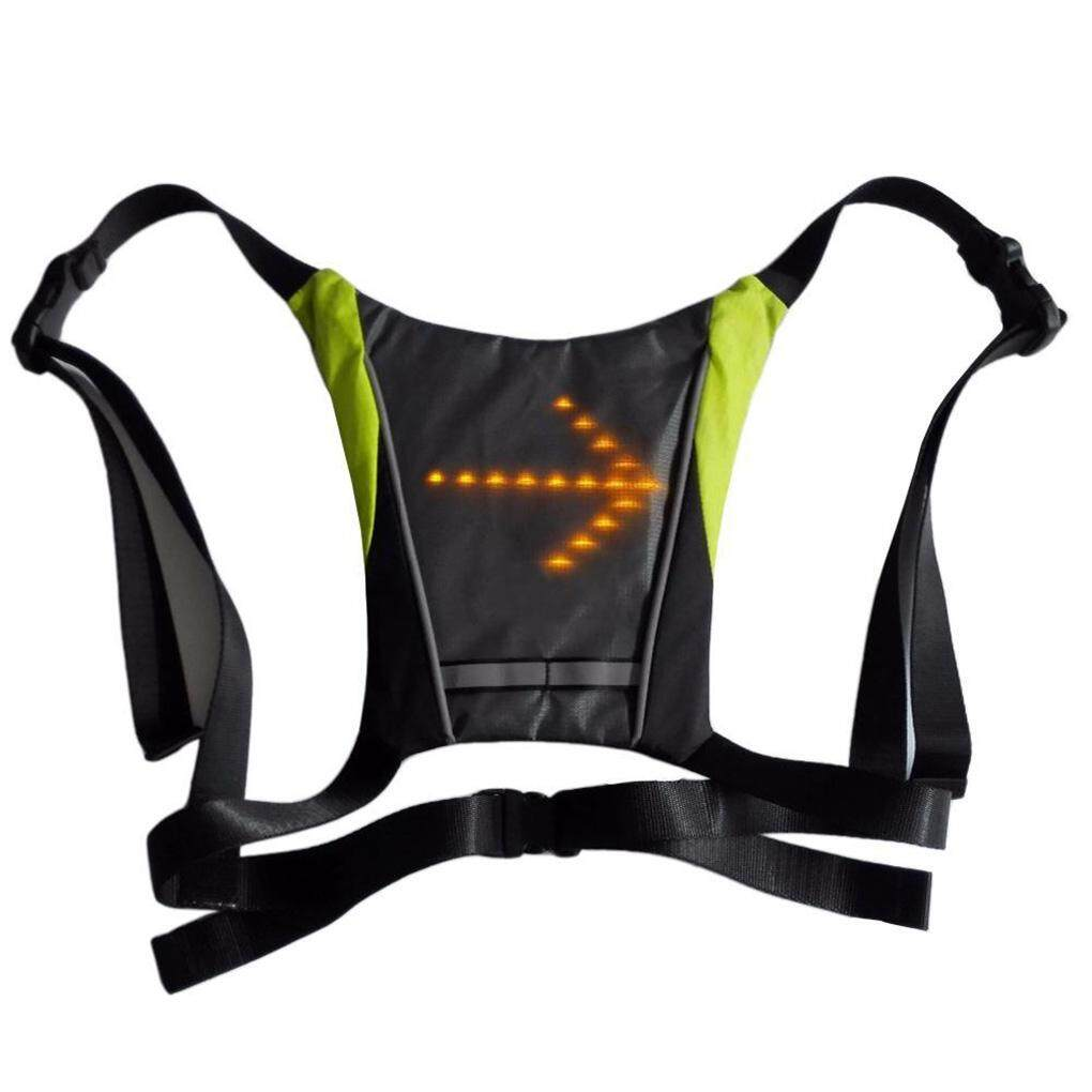 LED Wireless Safety Turn Signal Light Vest For Bicycle Night Riding Backpack NEW